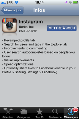 Nouvelle version d'Instagram sur iPhone > Creanum