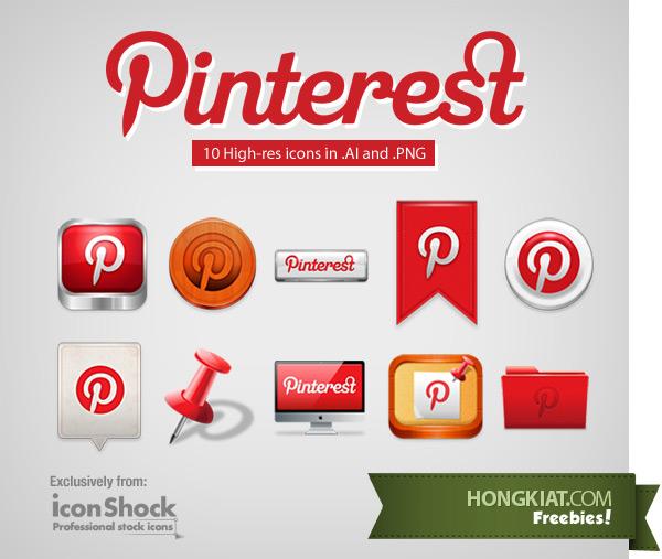 Un set gratuit d'icônes Pinterest > Creanum