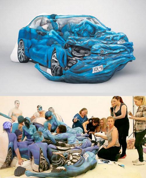 Human Motorcycle : des véhicules faits en body painting  > Creanum