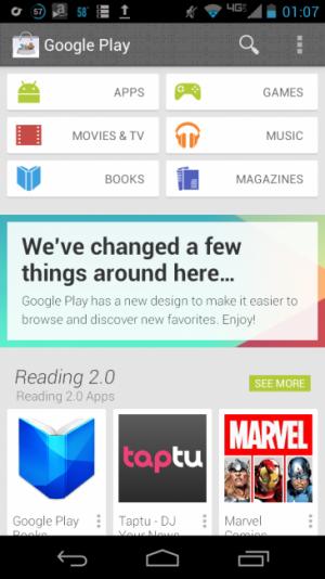Un screen du nouveau Google Play Store sur Android > Creanum