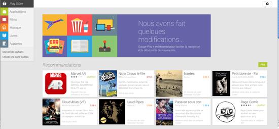 Le Google Play Store fait peau neuve sur le Web > Creanum
