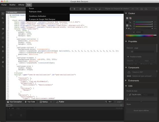 Google Web Designer bêta: un éditeur WYSIWYG pour des pubs en HTML5  > Creanum